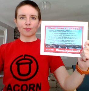 Carla Denyer supporting ACORN's #HousingIsHealth campaign