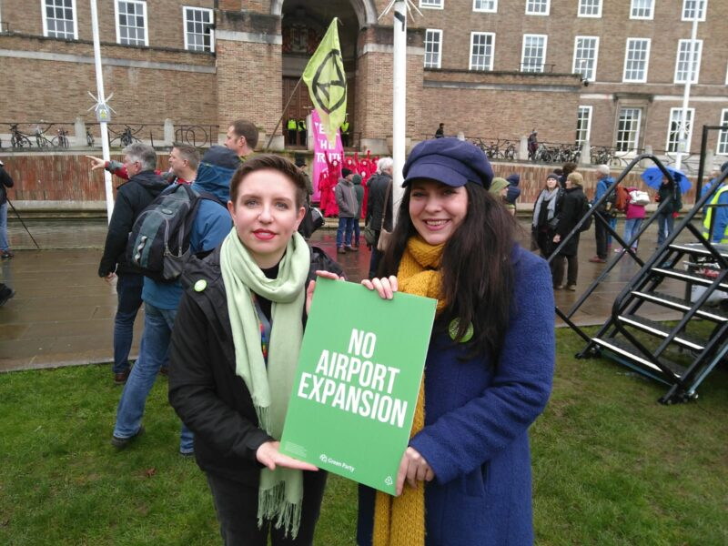 Carla with Green Party deputy leader Amelia Womack at the Stop Bristol Airport Expansion demo