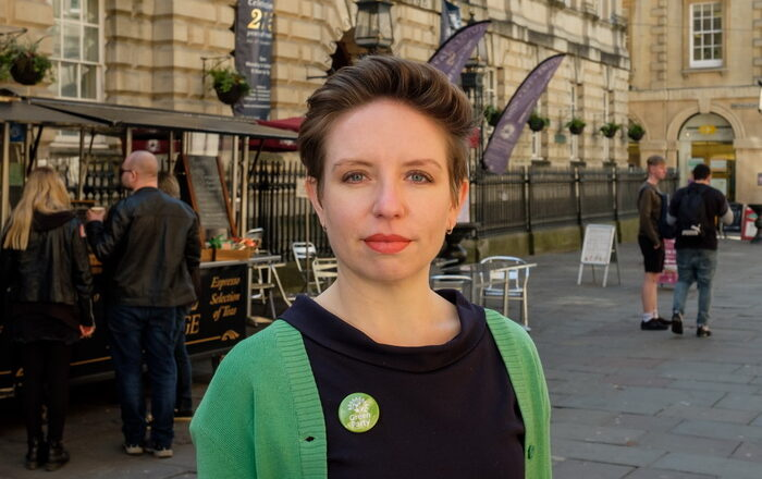 Carla Denyer Green Party MP candidate at St Nicks Market Bristol