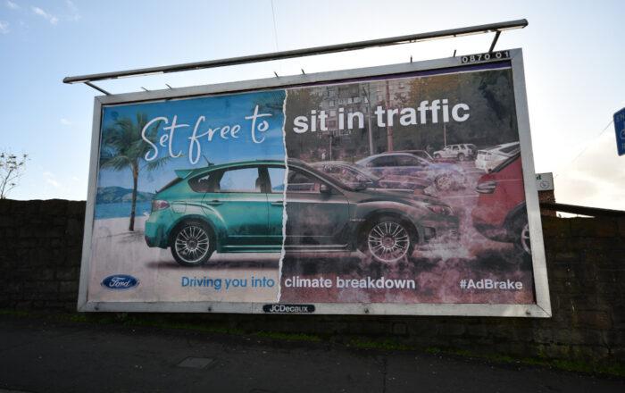 'Set free to Sit in Traffic' subvertised billboard #Adbrake (Photo credit: Adfree Cities)